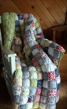 Twin Size Rag Puff / Biscuit Quilt - Custom Order - many fabric options available. on Etsy, $345.00 Way too much $! Maybe someone could make it ;)