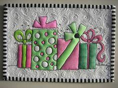 Happy Birthday Mug Rug by mamacjt, via Flickr coloring on fabric…