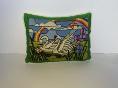 Vintage Stiched White Swan Rainbow Summer Scene by AmoreDolce, $30.00