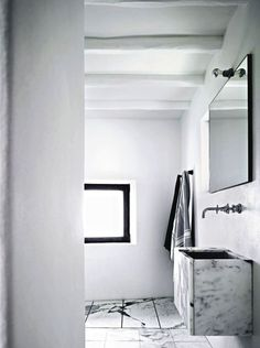marble + floating + minimal + exposed bulb + trough sink | home design | Pinterest bathroom -  interior design