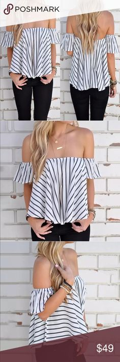 Blk white off shoulder top Off shoulder poly crop top-fun and flirty. New in package prittimonster boutique Tops