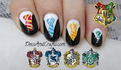 Hogwarts Nail Art Harry Potter Inspirado en el uniforme.