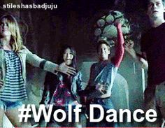 Teen Wolf gif :)<<Well, one wolf, a coyote, a fox, and a boy, but yeah...wolf dance!