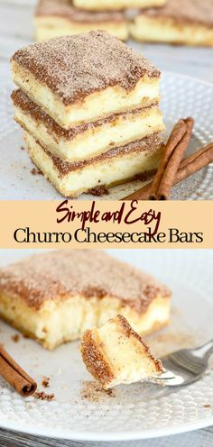 Churro Cheesecake Bars #desserts #cakerecipe #chocolate #fingerfood #easy