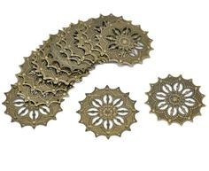 48 Antique Brass Filigree Flower Focal Components 42mm, Jewelry Wrapping Findings Rockin Beads (TM)
