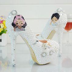 Class Women Pumps White Rhinestone Wedding Shoes High Heels Pearl Diamond Shoes 1    https://www.lacekingdom.com/   Lace Kingdom: Everything You Need for #Weddings & Events