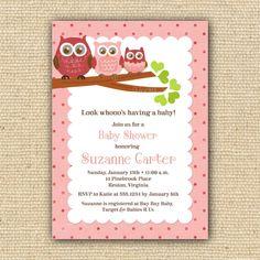 Valentine Owl Baby Shower Invitations