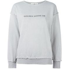 Golden Goose Deluxe Brand Marina sweatshirt ($224) ❤ liked on Polyvore featuring tops, hoodies, sweatshirts, grey, drop shoulder tops, logo sweatshirts, golden goose, patterned tops and grey long sleeve top