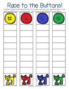Pete the Cat Game - Race to the Buttons -Here's a game to practice naming letters or you could also use it for letter sounds.