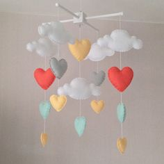 Baby mobile - Cot mobile - clouds and hearts - Cloud Mobile - Baby girl mobile…