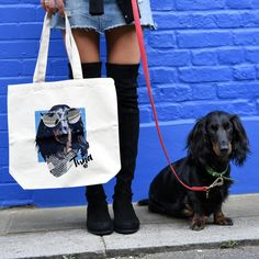 Custom pet canvas bag with dachshund