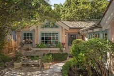 """Farmhouse Style Cottage How enchanting! Fall in love with this Farmhouse style cottage in Carmel, CA that is named """"Enchantment For Us."""" Isn't that a wonderful (. Beach Cottage Style, Cottage Style Homes, French Country Cottage, Cottage Design, Cottage House Styles, House Design, Fairytale Cottage, Storybook Cottage, Storybook Homes"""