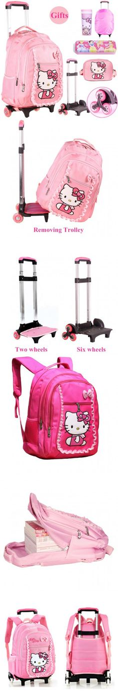 Hello Kitty Children School Bags Mochilas Kids rolling Backpacks With Wheel Trolley Luggage For Girls backpack