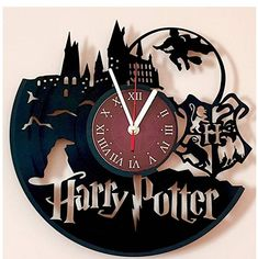 fa8d9bef692 Harry Potter Hogwarts Vinyl Record Wall Clock - Get unique kids room or  bedroom wall decor - Gift for him and her - Fantasy Movie Unique Modern Art