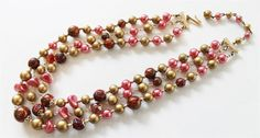 Vintage Pasadena Jewelry red tone multi strand lucite beads necklace 1960s