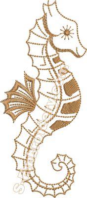 Sea horse machine embroidery design