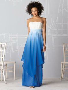 Strapless full-length lux chiffon dress with shirred bodice, set in waistband and hankercheif overlay. Available in sizes 00-30W.  http://www.dessy.com/dresses/bridesmaid/6614/