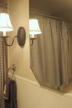 The Creek Line House: How to keep your bathroom mirror fog-free!  Love the check shower curtain!