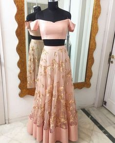 Ready for dispatch 🔆 Peach floral embroidered lehenga with off shoulder blouse Shop now Eid Outfits, Pakistani Outfits, Indian Outfits, Dress Outfits, Dress Up, Wedding Outfits, Indian Attire, Indian Ethnic Wear, Indian Style