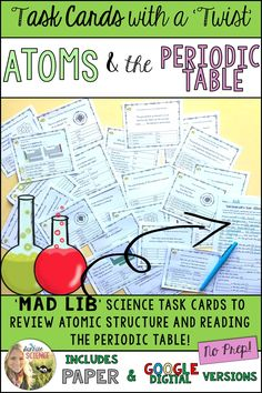 Periodic table of elements student learning stations periodic atoms and the periodic table mad lib task cards google digital or paper urtaz