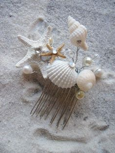 Seashell Hair Comb for Beach and Destination Weddings with Sparkly Crystal Seashells Pearls and Starfish