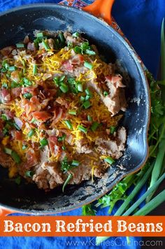 Mmm, I can't wait to try these Bacon Refried Beans! Mexican Dishes, Mexican Food Recipes, Ethnic Recipes, Pinto Bean Recipes, Good Food, Yummy Food, Tasty, Man Food, Refried Beans