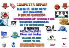 COMPUTER REPAIR LAPTOP OR DESKTOP        SERVICES:    Virus Removal  Fix Blue Screen (BSOD)  Fix error messages  Booting issues  System Optimisation  Software Installation   Antivirus Installation  Driver Installation  Operating System Re-installation (Bundle price....ask for it!)  Other service that is not in this list? Ask for it!    Data Back Up    Hardware replacement and upgrades  RAM Memory upgrade  Hard Drive Replacement or Upgrade  Video Card Installation  Optical drives replacement…