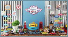 Decoração de festa infantil na mesa Rústica, tema Carros Antigos (Vintage Car), realizada na cidade de Sorocaba. Empresa trabalha com temas infantis Clean / Provençal e Rústica.