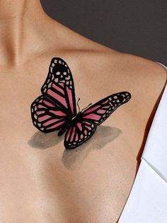 Wear this beautiful pink butterfly 3D tattoo when you want a hint of mystery. The butterfly on this watercolor tattoo appears to be actually sitting on your skin. There is an extra surprise when you n