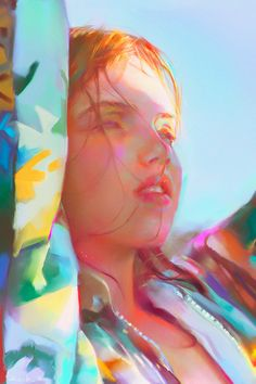 Loving the colors in this light study by Yanjun Cheng  #portraitart #digitalart