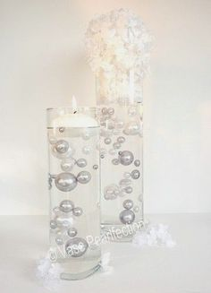 Unique Jumbo & Assorted Sizes Silver & White Pearls Vase Fillers 80Pc. Pack