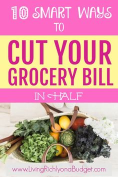 Want to cut your grocery bill in half? Learn these 10 smart tips to lower your food budget, save money, and be more focused about grocery shopping. Living On A Budget, Frugal Living Tips, Frugal Tips, Frugal Meals, Budget Meals, Food Budget, Best Money Saving Tips, Money Saving Meals, Save Money On Groceries