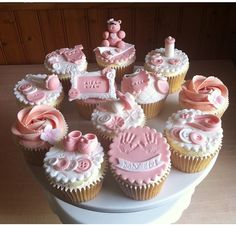 Cupcakes decoration for girls valentines 17 ideas Baby Shower Cupcakes For Girls, Baby Cupcake, Kid Cupcakes, Torta Baby Shower, Shower Cakes, Fondant Cupcake Toppers, Cupcake Cakes, Mini Cakes, Baby Cookies