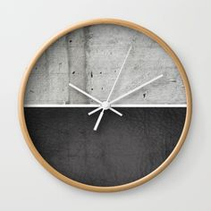 Raw Concrete and Black Leather Wall Clock