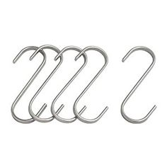 IKEA 7cm 'GRUNDTAL' 5 S-HOOKS FOR POT / PAN LID - CUP - HOOK ONTO RAIL OR SHELF: Amazon.co.uk: Kitchen & Home