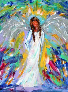 Original oil ANGEL PALETTE KNiFE painting modern by Karensfineart