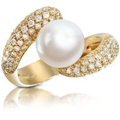 Forzieri 0.70 ct Diamond and Pearl 18K Gold Ring...beautiful <3