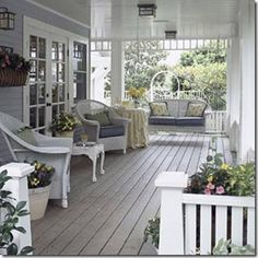 i love this porch bhg porch - But I would paint the ceiling light blue or pale aqua. Keeps dirt dabbers from lighting and building mud nests. :)