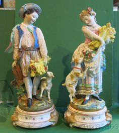 Antique Jean Gille French Pottery Pair Tall Figurines Vion & Baury 19th Century #JeanGilleVionandBaury