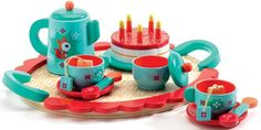 Buy Djeco Fox's Party Wooden Tea Set at Yolk. All wooden Tea for Two with cups, saucers, spoons, tea pot, tray and the cake with candles. Fox Party, Tee Set, Tea Party Setting, Birthday Cake With Candles, Toy Kitchen, Kitchen Sets, Wooden Toys, Tea Time, Tea Sets
