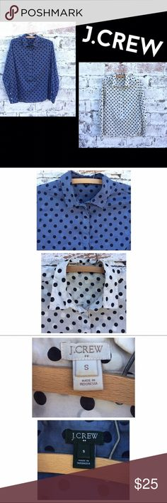 J.CREW Polka Dot Shirt Bundle Two J.CREW Polka dot shirt bundle. They have a sheer type fabric and Button Up about 3/4 of the way up the front of the shirt. 1 blue and 1 off white/cream shirt. Both are 100% cotton. Preloved and the off white has a tiny little spot by the collar that has some makeup foundation staining that could probably be washed out with a little work. Both size Small. If you have any questions please ask before buying. :) *Colors may vary slightly from pictures* J. Crew…