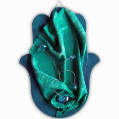 3D wall sculpted hamsa - gorgeous hand painted shades of greens,blues decorated with crystals # 203G