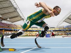 Oscar Pistorius: The first amputee track athlete to compete at any Olympic games! In a surprising last-minute decision, South Africa's Olympic committee and national track federation cleared the double amputee to run in his individual event. Oscar Pistorius, Lionel Messi, Fc Barcelona, Cristiano Ronaldo Real Madrid, Olympic Committee, Sports Pictures, Summer Olympics, Blade Runner, World Championship
