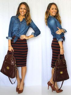 This outfit works for the seasonal transition with burgundy tones, a striped skirt and chambray shirt, all items that feel fresh again this year.