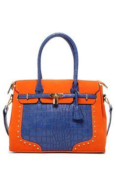 Orange and Blue Satchel.