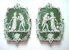 Pair of jasperware plaques of romantic couple