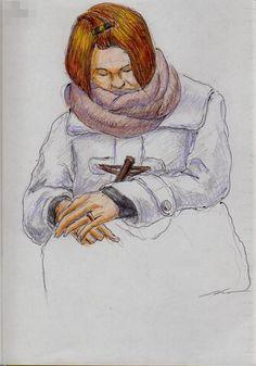 白いダッフルコートのお姉さん(通勤電車でスケッチ) This is a woman of sketch wearing a white duffel coat. I drew in a commuter train.