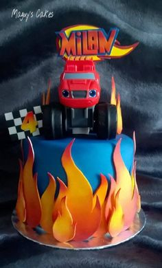 Torta Blaze, Bolo Blaze, Blaze Cakes, Blaze And The Monster Machines Cake, Blaze The Monster Machine, Easy Kids Birthday Cakes, Birthday Cake Girls, Birthday Ideas, Blaze Birthday Cake