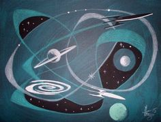 EL GATO GOMEZ PAINTING RETRO 1960S SPACE SHIP ROCKET SCI-FI ATOMIC ABSTRACT #Modernism