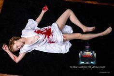 Murder I - The new fragrance for men by Ax Aler, 2014. Digital on canvas 100x150 cm.